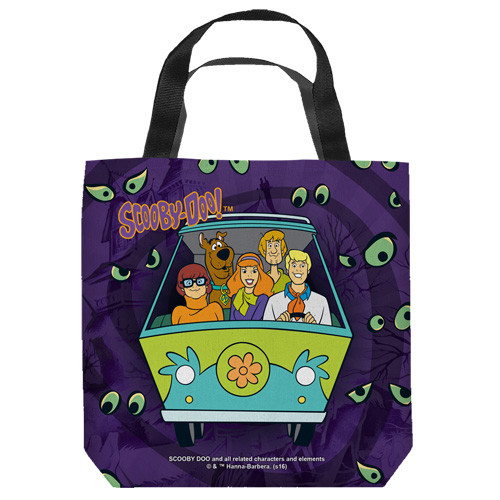 "16 inches by 16 inches,  Scooby Doo-Night ride"" Tote Bag.  This highly collectible bag is made of a spun polyester, and has the look and feel of a ""Light Weight Cotton Canvas Bag"".  Includes 2 black handles and is printed on both sides with same image shown."