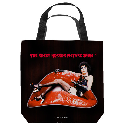 "16 inches by 16 inches,  Rocky Horror-Frank Lips"" Tote Bag.  This highly collectible bag is made of a spun polyester, and has the look and feel of a ""Light Weight Cotton Canvas Bag"".  Includes 2 black handles and is printed on both sides with same image shown."