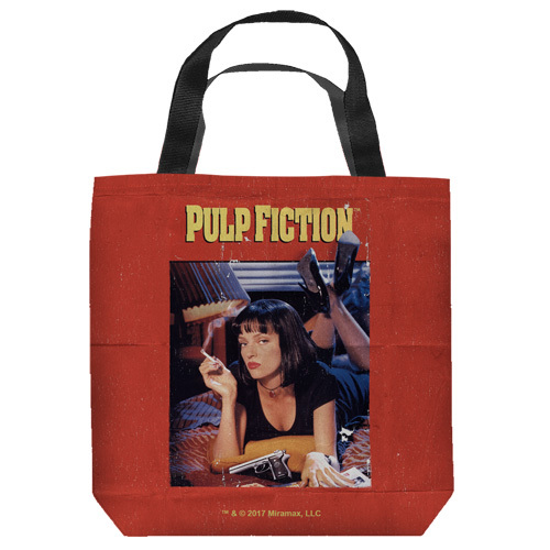 "16 inches by 16 inches,  Pulp Fiction-Poster"" Tote Bag.  This highly collectible bag is made of a spun polyester, and has the look and feel of a ""Light Weight Cotton Canvas Bag"".  Includes 2 black handles and is printed on both sides with same image shown."