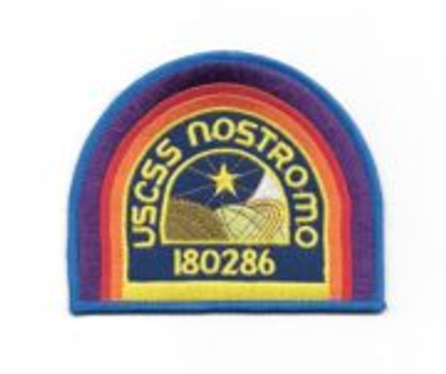 Alien movie U.S.C.S.S  nostromo crew logo embroidered patch dark blue 4″ x 3.25″ patch, seen in the hit movie 'Alien' on the hats and shoulders of the ill fated crew of the ship of the same name. This is a new, unused patch that comes with a glue backing for easy application to any cloth surface. I