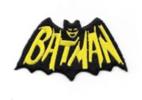Batman 1960's tv show cape and name logo embroidered patch This is the comic name logo seen in the opening credits of the cult 1960's TV show Batman. Copied from the comic books from that time period and produced many years ago.