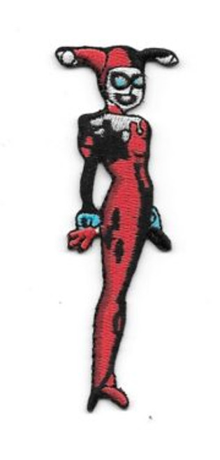 Batman animated tv show Harley Quinn figure embroidered patch This is a comic art rendition of Harley Quinn, copied from the animated TV series and produced many years ago. It is not an easy patch to find, and is embroidered, 3.5″ high and is in mint condition.