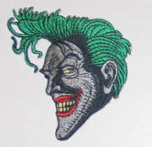 Batman animated tv show Joker smiling face embroidered patch This is a comic art rendition of the smiling face of Batman's nemesis the Joker copied from the animated TV series and produced many years ago. It is not an easy patch to find, and is embroidered, 3.25″ high and is in mint condition.