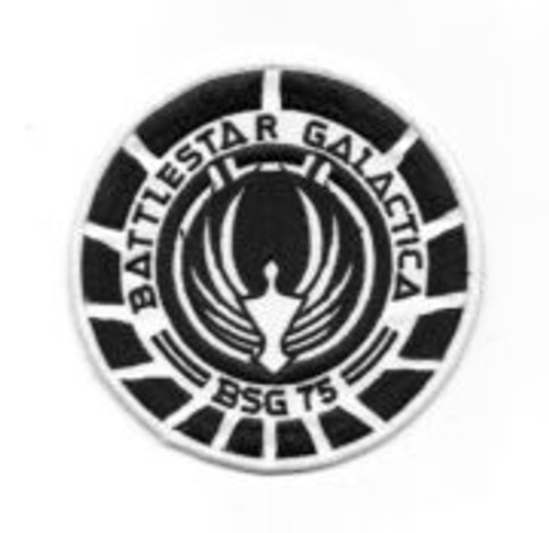 Battlestar Galactica BSG 75 marines logo black embroidered patch This is the logo shoulder patch of the new hit TV show Battlestar Galactica, as worn by the Marines, black squad version. It is a new, mint, embroidered patch, measuring 4″ across.