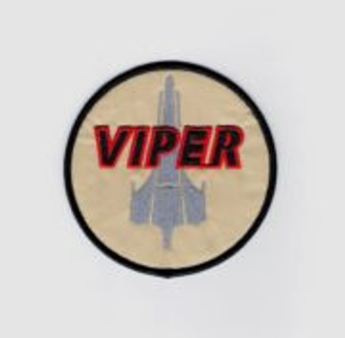 Battlestar Galactica viper pilots screen accurate embroidered patch This is the full size patch worn on the shoulder of the Viper pilots jackets on the recent revisted hit TV show Battlestar Galactica. This is a screen accurate version down to the color and lettering. We also offer a style with a white background.
