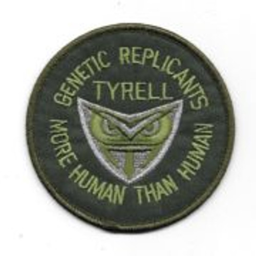 "Blade runner tyrell genetic replicants 3"" embroidered patch This is the patch seen in the hit movie 'Blade Runner'. ""More Human Than Human"", on the bottom of the patch, is the logo of Tyrell Industries, the company that made the androids Harrison Ford fought. This is a mint, unused patch."