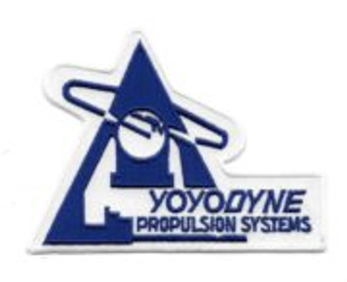 """Buckaroo Banzai yoyodyne propulsion institute 4.25 """" embroidered patch This is the logo of the company run by the aliens in the cult movie, 'Buckaroo Banzai' and is a mint patch measuring 4.25″ x 3″ across. The Banzai patches we are selling were produced many years ago under a restricted fan license that only allowed them to be sold to the comic book, fantasy shop, convention dealer market. For this reason, their distribution was not very good and so are not easy to find today."""