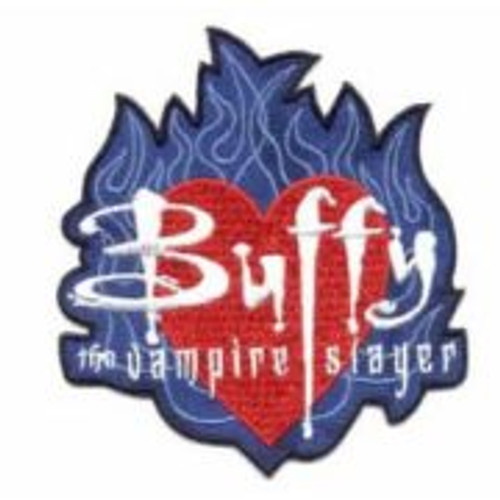 "Buffy the vampire slayer flames logo embroidered 4"" patch This mint patch features the heart logo, surrounded by blue flames, from the hit cult TV show, Buffy, The Vampire Slayer. It is an embroidered patch which measures 3 1/2″ x 4″."