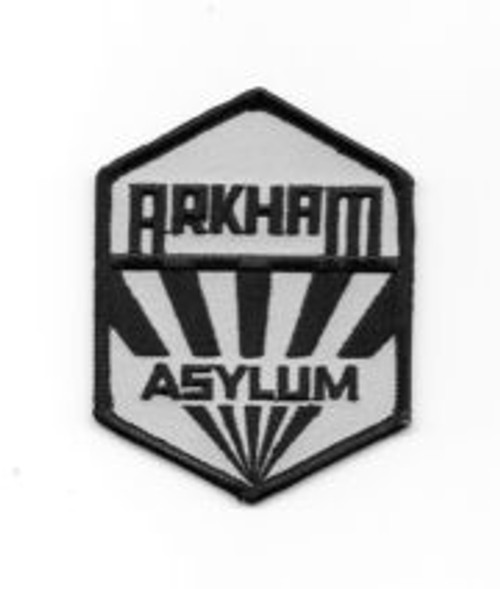 DC Comics batman arkham asylum sanatorium logo embroidered patch This is the logo of Gotham City's Arkham Asylum for the insane, as seen in many of the Batman movies and comic books, and actually created by H.P. Lovecraft. This mint patch measures 3″ across