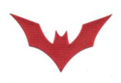 DC Comics batman beyond animated tv series red bat logo embroidered patch This is the red bat logo worn by Batman in the 1999-2001 animated TV series Batman Beyond.  This mint patch measures 4″ x 2″.