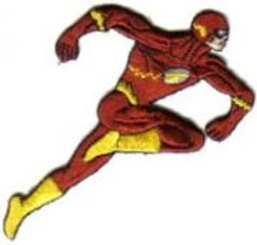 DC Comics the flash running figure embroidered patch This is the running comic book image of the Flash as seen in DC comic books. This was produced many years ago, it is not an easy patch to find. It is an embroidered patch and is 4.375″ high.