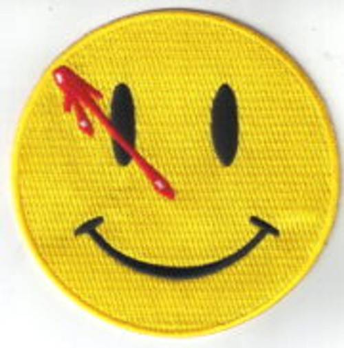 DC Comics the watchmen the comedian the smiley face embroidered patch This mint, 3 1/2″ wide embroidered patch features the smiley face with a bleeding bullet hole crew uniform logo (Edward Morgan Blake) as seen in DC Comics cult comic series The Watchmen.
