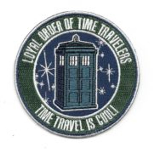 "Dr Who british tv series loyal order of time travellers logo embroidered patch This mint, 3.5″ wide embroidered patch features the logo for the Loyal Order of Time Travelers featuring an image of the Tardis and the words ""Time Travel Is Cool!"" from the revived hit sci-fi TV show Doctor Who."