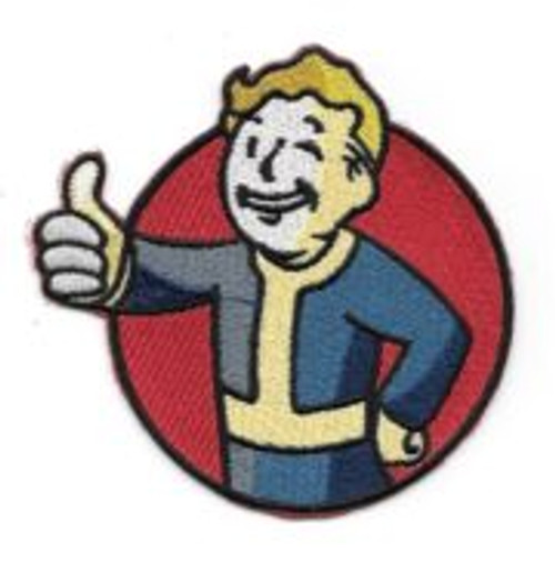 Fallout video game vault boy logo embroidered patch This is the vault boy logo from the hit video game Fallout. This is a mint, unused embroidered patch measuring 3.5″ wide. It comes with a glue backing for easy application to a cloth surface