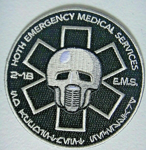 3.5 inches in diameter, a new Star Wars Hoth Emergency Medical Services (2-1B EMS Medical Droid) embroidered patch. Sew on or iron on. New.