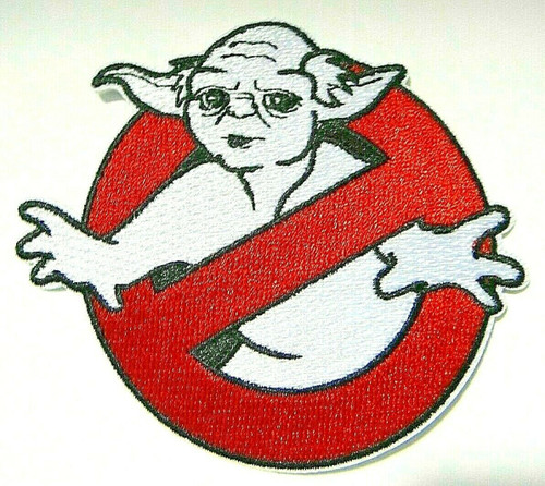 ".5"" inches wide,  a new Star Wars Yoda ""Ghostbusters Parody"" embroidered patch. Sew on or iron on."