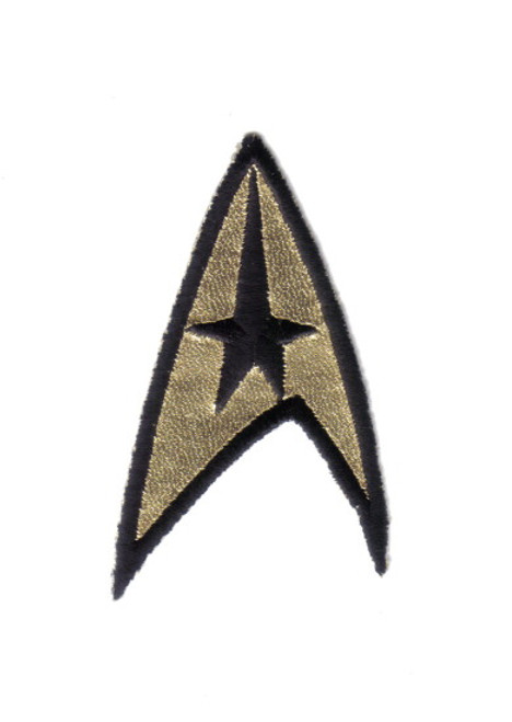 Star Trek Classic TV Series Command Logo Embroidered Foil Chest Patch This mint patch pictures the command chevron as seen on the episodes of classic Star Trek. It was seen on the left breast of the shirts, as worn by Captain Kirk and Lt. Sulu.