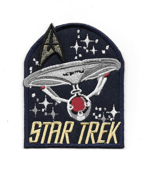 Star Trek Classic TV Series Name and Enterprise Ship Embroidered Patch This 3.75″ high mint patch pictures the original classic Star Trek TV series name logo and the image of the starship Enterprise 1701, along with a classic command patch.
