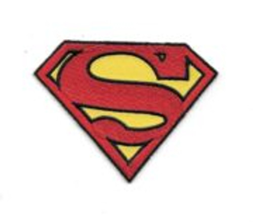 Superman Large S Chest Logo Embroidered 3.5″ Wide Embroidered Patch This mint, unused 3.5″ x 2.375″ patch features the logo of Superman as first seen on his chest in the late gold and early silver age of comics.