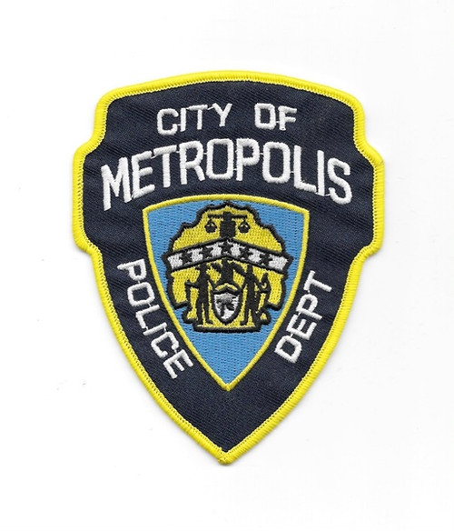 Superman City of Metropolis Police Department Logo Embroidered Patch This mint, unused 4.5″ high patch features the logo of the City of Metropolis Police Department as seen in the Superman Returns movie.