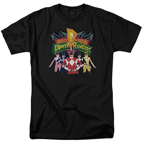 Mighty morphin power rangers-Rangers unite 100% cotton high quality pre shrunk machine washable t-shirt