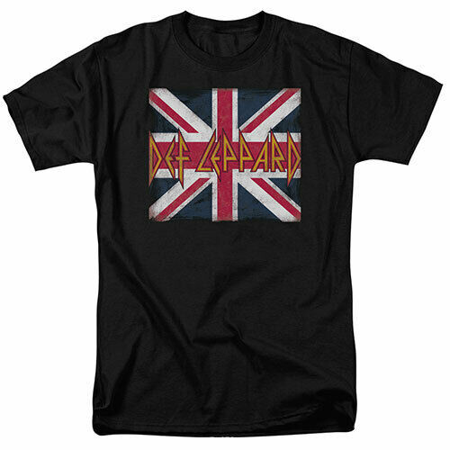 "Def Leopard ""Union Jack"" Logo Mens T-Shirt. Available in Sm to 3x -new 100% cotton high quality pre shrunk machine washable t-shirt"