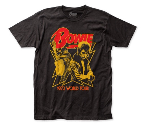 "David Bowie ""1972 World Tour"" Mens Unisex T-Shirt -Available Sm to 2x 100% cotton high quality pre shrunk machine washable t-shirt"