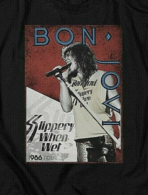 Bon Jovi, Slippery When Wet 1986 Tour Mens Adult T-Shirt New -Available Sm to 3x 100% cotton high quality pre shrunk machine washable t-shirt