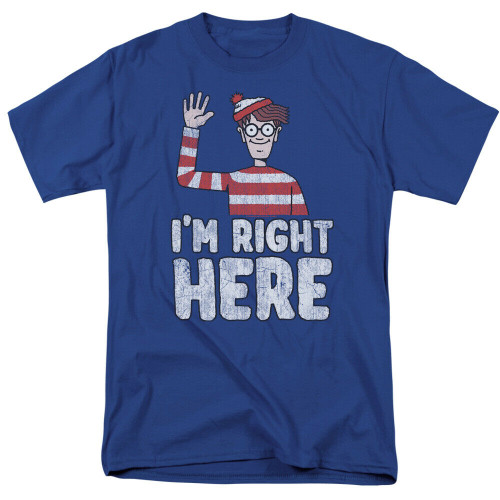 "Where´s Waldo Ïḿ Right Here"" Mens Adult Unisex T-Shirt -Available in Sm to 3x 100% Cotton High Quality Pre Shrunk Machine Washable T Shirt"