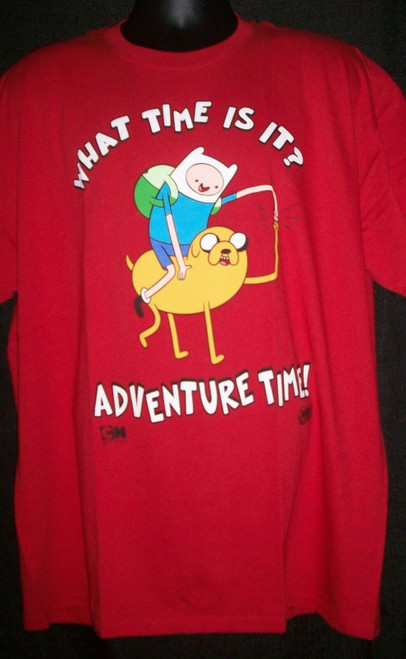 "Adventure Time ""What Time is It!"" Mens Unisex T-Shirt -Available Sm to XL  100% Cotton High Quality Pre Shrunk Machine Washable T Shirt"