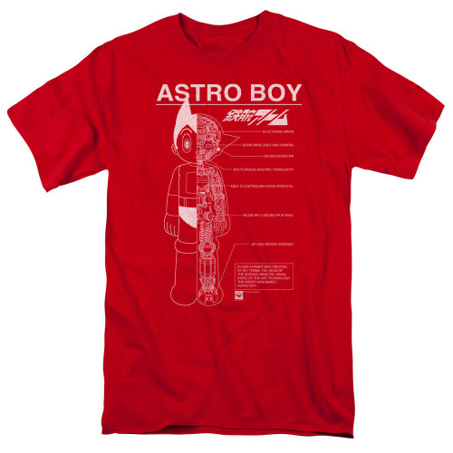 "Astro Boy ""SCHEMATICS"" Mens Adult Unisex T-Shirt -Available in Sm to 3x 100% Cotton High Quality Pre Shrunk Machine Washable T Shirt"