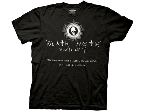 "DEATH NOTE ""HOW TO USE IT"" Mens Unisex T-Shirt -Available in Sm to 2x 100% Cotton High Quality Pre Shrunk Machine Washable T Shirt"