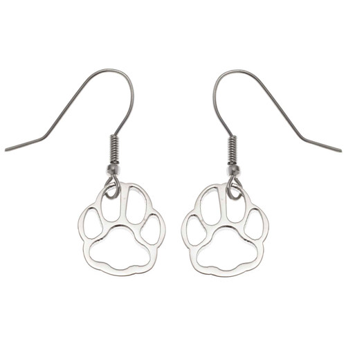 Paw Print Fish Hook Earrings