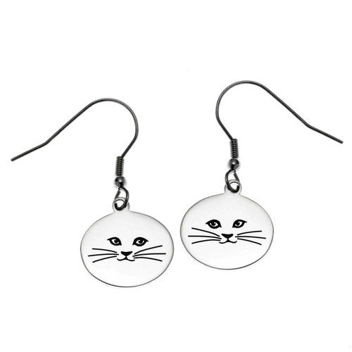 Round Cat Face Fish Hook Earrings