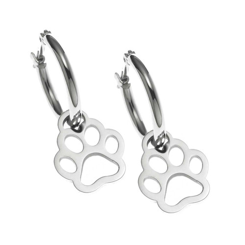 Open Paw Print Hoop Earrings