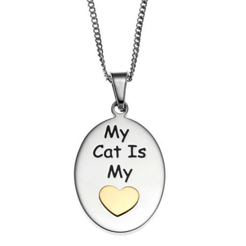 My Cat is My Heart Pendant Necklace