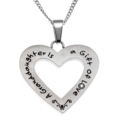 Granddaughter Open Heart Pendant Necklace