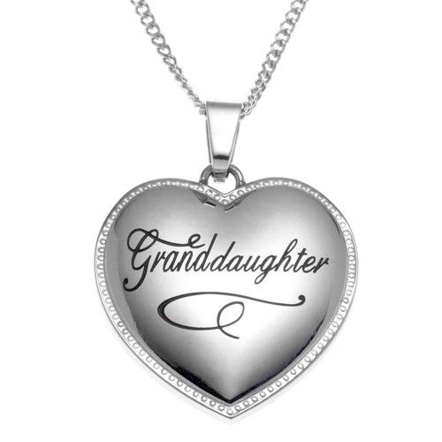 Granddaughter Scripted Heart Pendant Necklace
