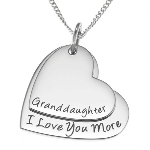 Double Heart Granddaughter Pendant Necklace