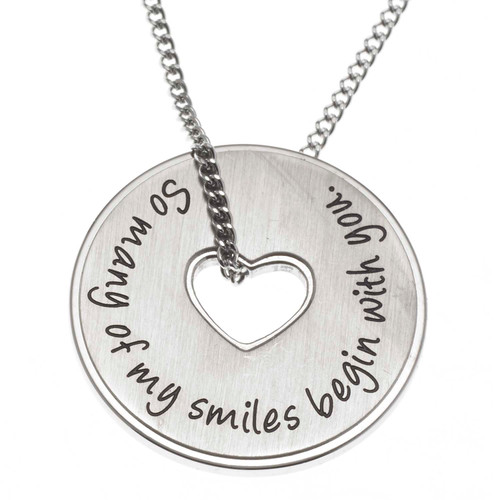 Smiles Disc Pendant Necklace
