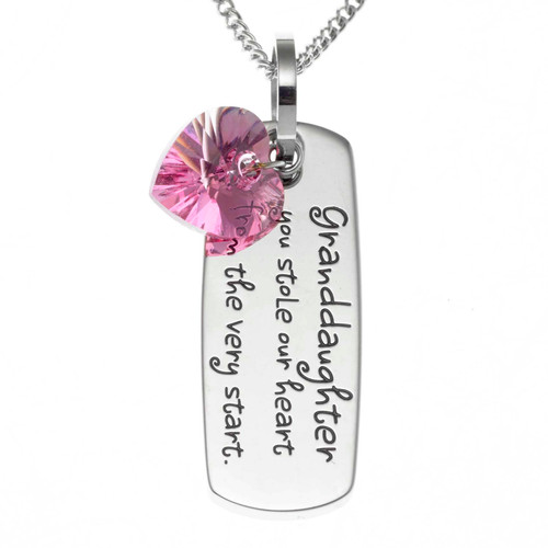 Granddaughter You Stole My Heart Pendant Necklace