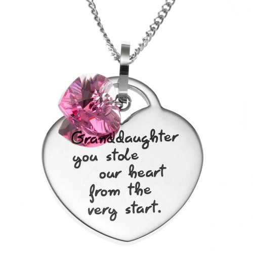 Granddaughter You Stole My Heart Heart Shaped Pendant Necklace