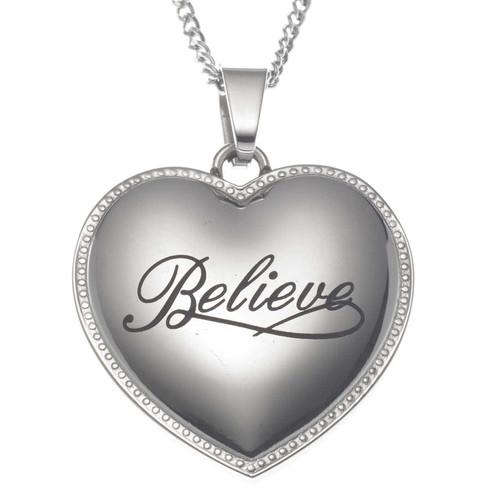 Believe Heart Pendant Necklace Pendants 22 Joyful Sentiments