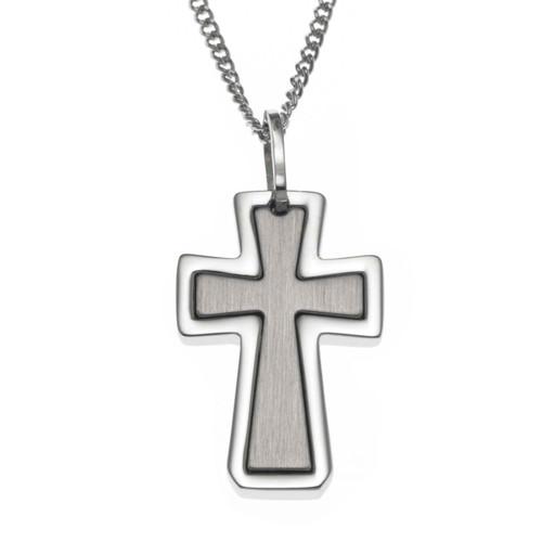 Inlay Cross Pendant Necklace