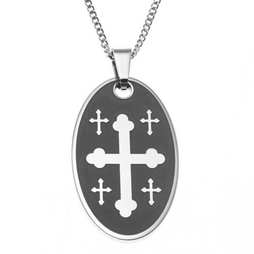 Oval Cross Pendant Necklace