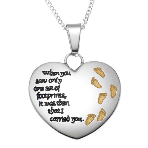 Footsteps in the Sand Heart Pendant Necklace