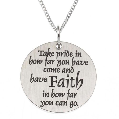 Faith Disc Pendant Necklace