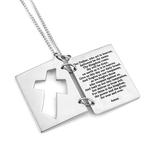 Lord's Prayer Pendant Necklace