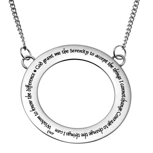 Serenity Prayer Circle Pendant Necklace