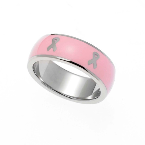 Pink Enamel Ribbon Ring